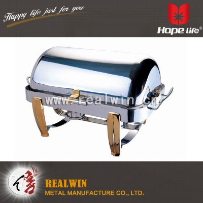 9L FULL SIZE DELUXE GOLD ACCENTED ROLL TOP CHAFING DISH